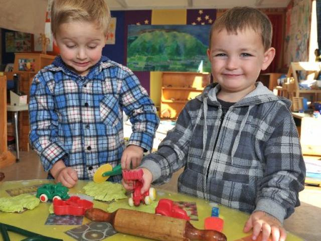 Max Doherty (3) and Fletcher Wilson (3), both of Lee Stream at the Outram Playcentre last week....