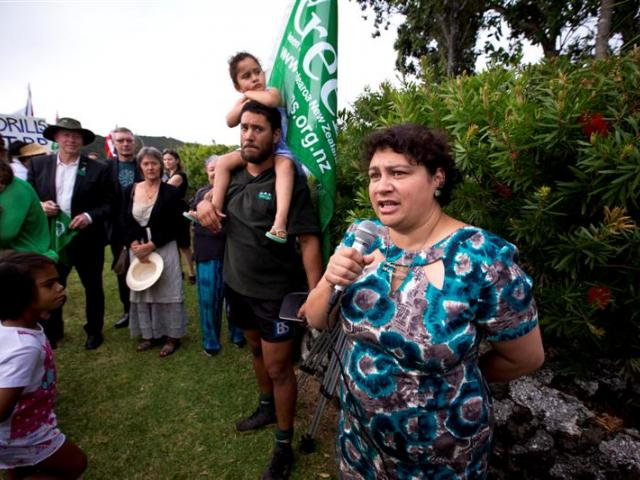 Greens co-leader Metiria Turei addresses deep-sea oil protesters in Waitangi yesterday.