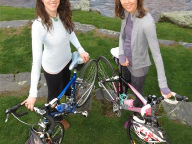 Queenstown cyclists Kimberley Percival (left) and Rachel Kennedy are training for a mental-health...