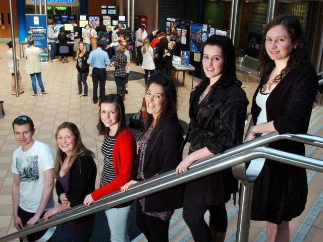 Six of the 17 University of Otago commerce exchange scholarship winners (from left), Chris Church...