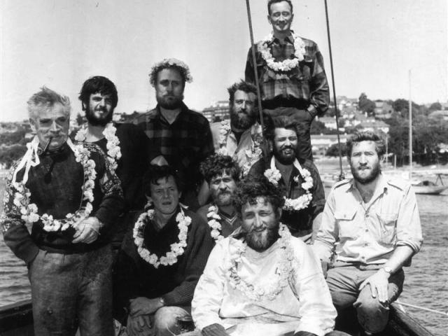 The Heard Island expedition team:  (standing, from left) Bill Tilman, John Crick, Russ Pardoe, Ed...