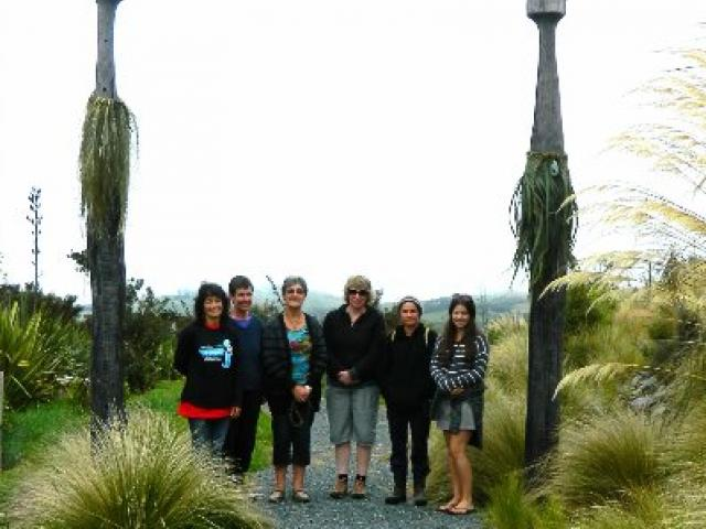 The weavers stand by their completed task. From left: Suzi Flack, Bronwyn Lowe, Phyllis Smith,...