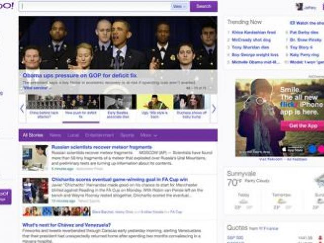 Yahoo has redesigned its home page. Photo/Yahoo.