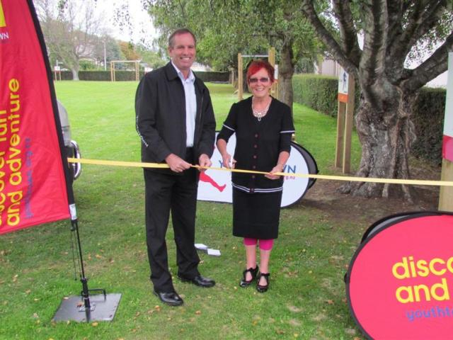 Youthtown chief executive Keith Thorpe and Waitaki Girls' High School  principal Lynlee Smith cut...