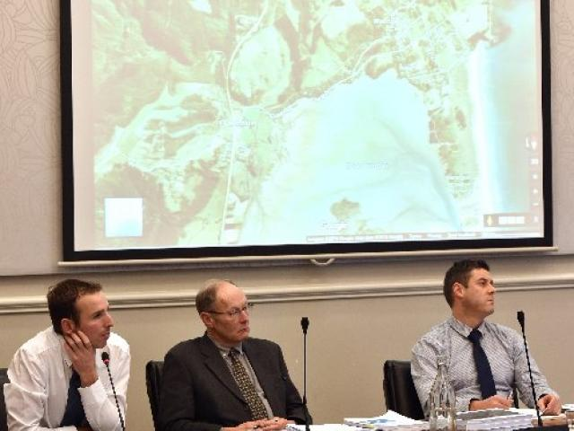 Dunedin City Council environmental health officer Carlo Bell (left), landscape architect Barry...