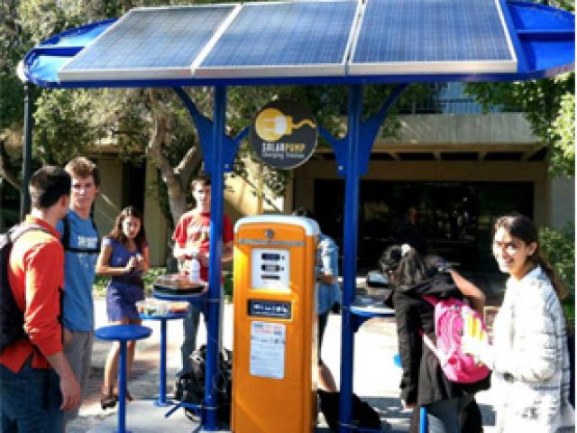 Beth Ferguson's solar powered charging station at Stanford University. Photo supplied.