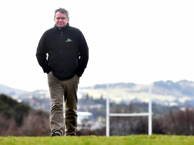 NZ Safety Brokers director Graham Roper on a Dunedin rugby ground yesterday. Photo: Peter McIntosh.