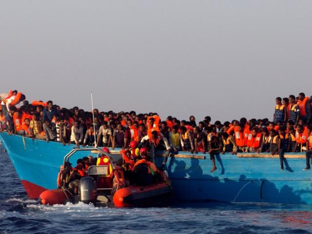 A rescue boat containing migrants. Photo: Reuters