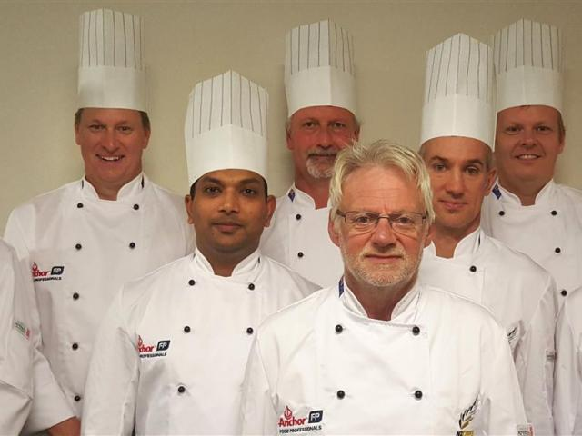 New Zealand's Culinary Olympics team Corey Hume, Richard Hingston, Ganesh Khedekar, Steve Le...