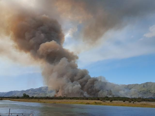 The January 9 blaze on a Waitaki River island near Kurow. Photo: supplied.