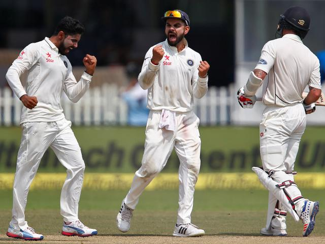 Virat Kohli (middle) celebrates a wicket during the first test. Photo: Reuters