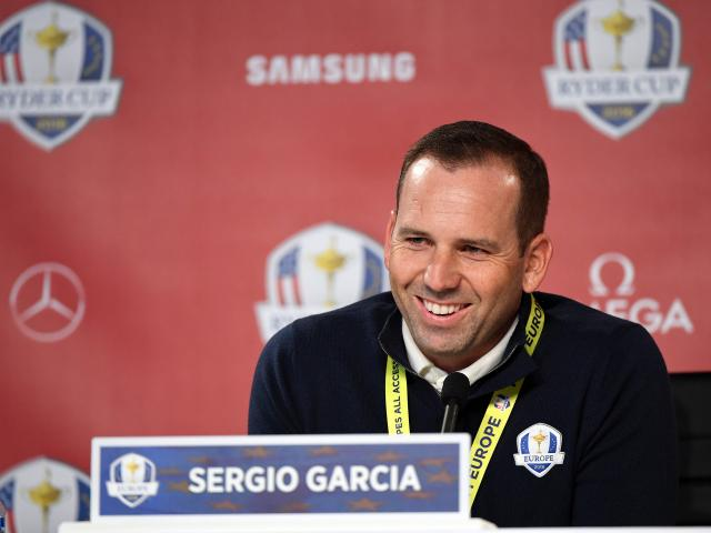 Sergio Garcia at a press conference today. Photo: Reuters