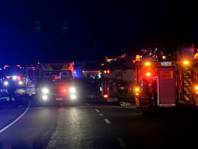 Emergency services at the scene last night. Photo Linda Robertson