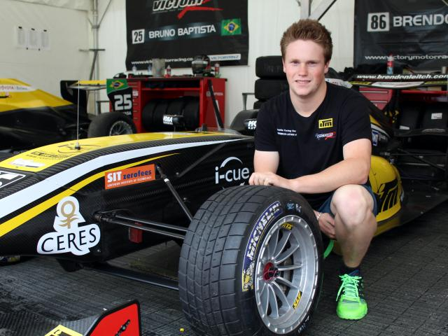 Cromwell racing driver Brendon Leitch beside his vehicle at Teretonga Park in Invercargill...