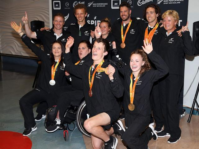Members of the New Zealand Paralympic team after returning to the country. Photo: Getty Images