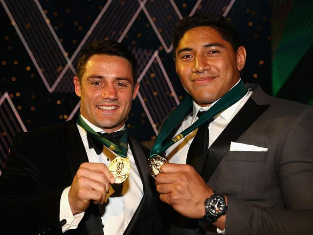 Cooper Cronk and Jason Taumalolo with their medals. Photo: Getty Images