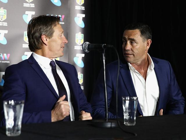 Craig Bellamy and Shane Flanagan at the Sydney Opera House yesterday. Photo: Getty Images