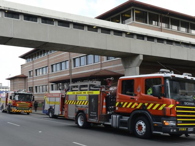 Five fire appliances were called to Dunedin Hospital about 2.50pm yesterday. Photo by Gerard O...