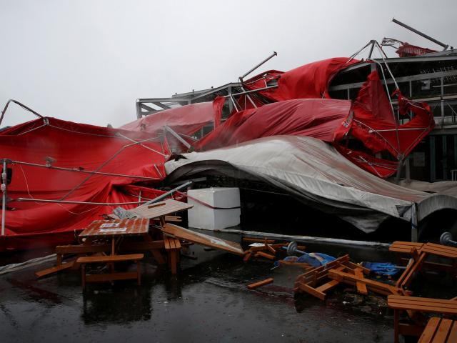 A damaged tent is see as Typhoon Megi hits Hualien, eastern Taiwan. Photo: Reuters