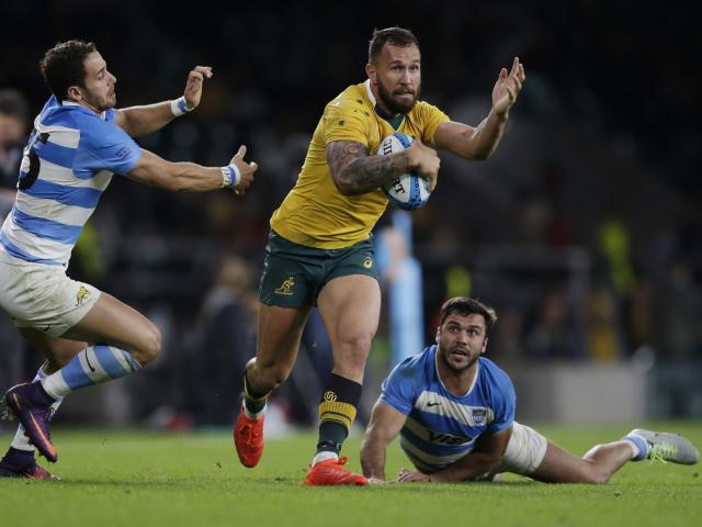 Quade Cooper in action for Australia against Argentina at Twickenham in England earlier this...