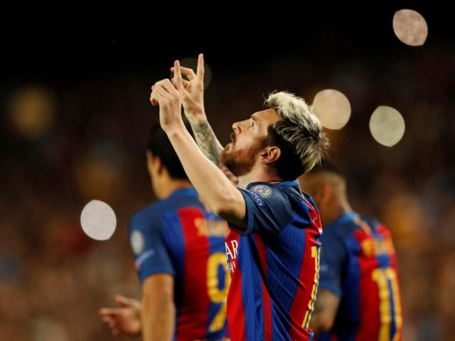 Barcelona's Lionel Messi celebrates scoring their first goal against Manchester City. Photo: Reuters