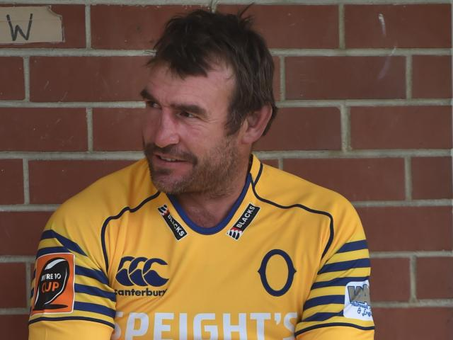Former All Black Andrew Hore at Otago training at Logan Park yesterday. Photo by Peter McIntosh.