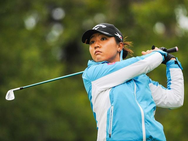 Lydia Ko of New Zealand tees of on the 11th hole during the first round of the Canadian Pacific...
