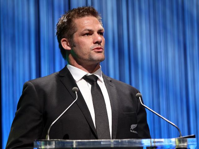 Richie McCaw speaks during the New Zealand Rugby Awards in Auckland last night. Photo Getty for NZRU
