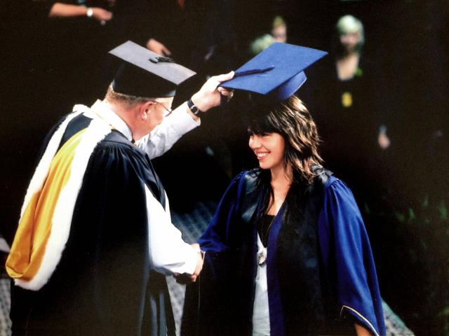 Anna Ross graduates from the Otago Polytechnic with a bachelor of design (fashion) degree in 2008.