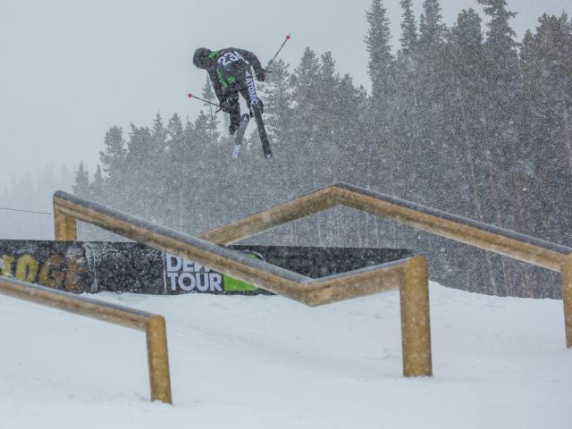 Jossi Wells flies through the air at Breckenridge, in Colorado, yesterday.PHOTO: GEORGE CROSLAND...