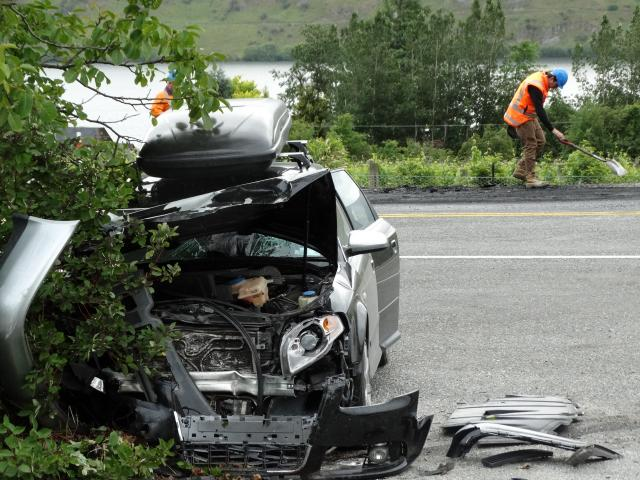 One of the crashed cars.