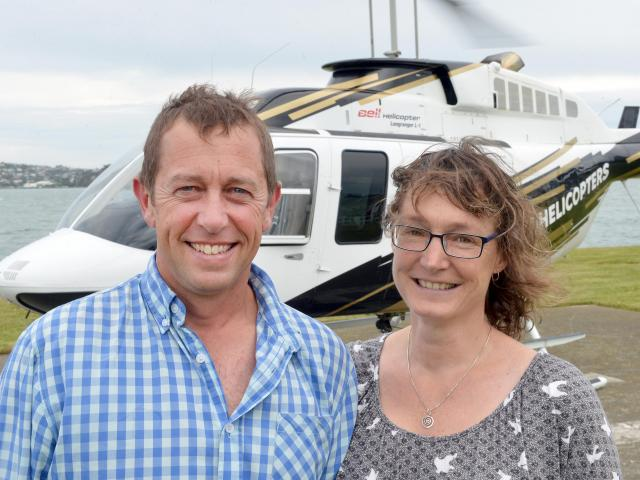 Paul and Kirsty Williams, of Highland Helicopters, a new helicopter company based on the Taieri....
