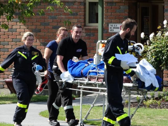 Injured skydiver Sasa Jojic is stretchered to a waiting Otago Regional Rescue Helicopter in...
