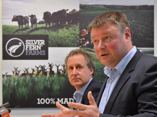 Silver Fern Farms chairman Rob Hewett (right) and chief executive Dean Hamilton. PHOTO: GERARD O...