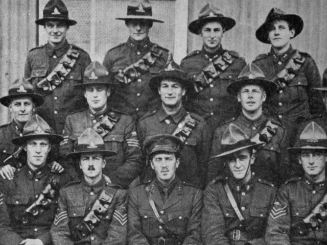 A group from the New Zealand Field Artillery at Sling Camp, Salisbury, England. - Otago Witness,...