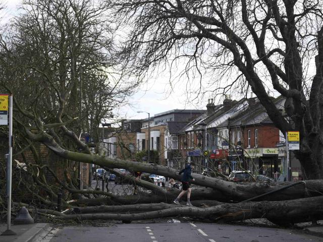 A woman was killed by falling debris in Storm Doris. Photo: Reuters