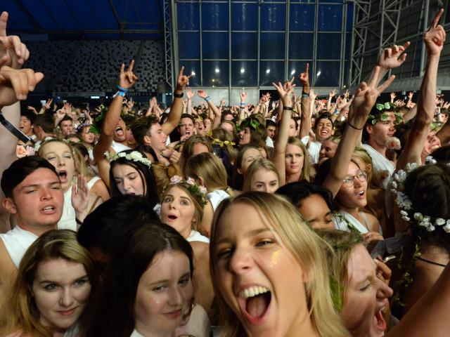 Students dance at the annual toga party at Forsyth Barr Stadium last night. Photo: Linda Robertson.