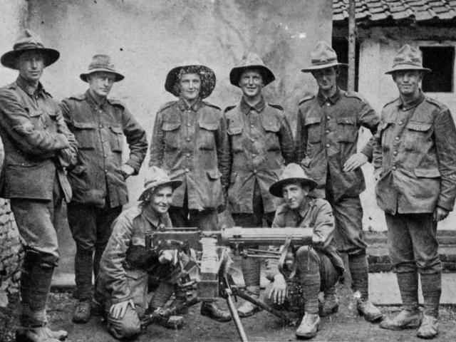 ''A'' gun, Otago section, N.Z Machinegun Company in France. Standing (from left): Corporal...