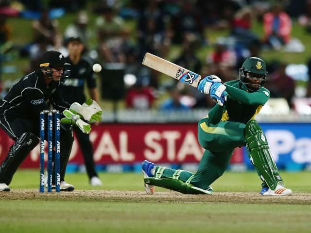 Andile Phehlukwayo bats for South Africa during the first ODI against New Zealand. Photo: Getty...