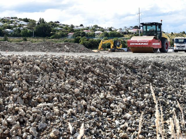Heavy machinery at work on the Carisbrook site. Photo: Peter McIntosh.