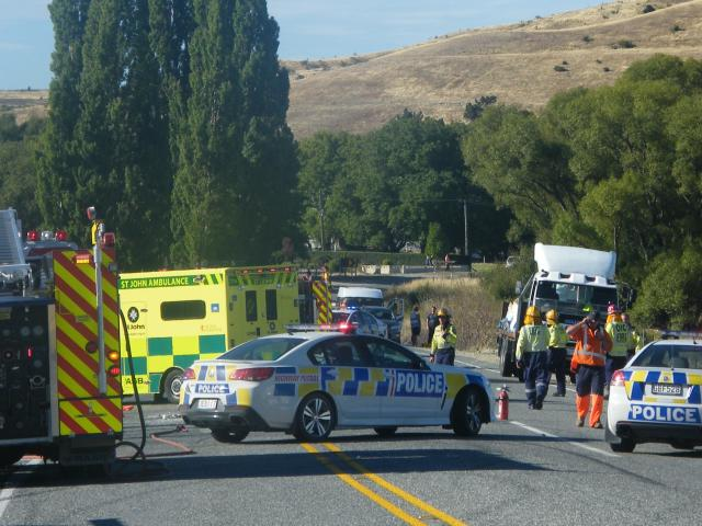 Emergency services attend the scene of a fatal crash between a truck and motorbike at the...