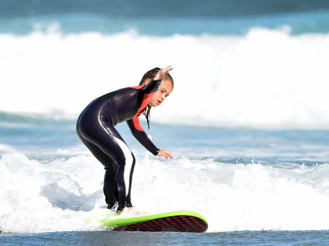 Alaia Mattingly shows her winning style at St Clair Beach yesterday. PHOTO: PETER MCINTOSH