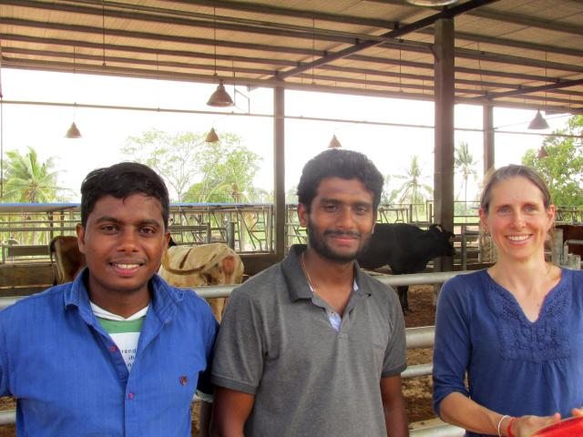 Marloes Levelink with farm manager Dr Iroshana Kulathunga and assistant farm manager Harshan...