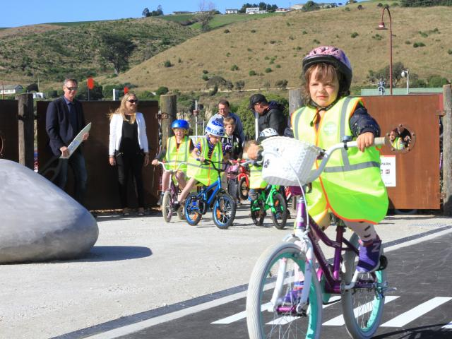 Mia Berry (5), of Oamaru, is among the first to try out Oamaru's children's learn-to-ride bike...