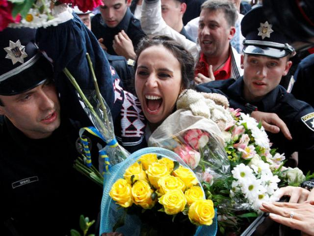 The winner of the 2016 Eurovision Song Contest, Jamala, arrives at airport outside Kiev, Ukraine.