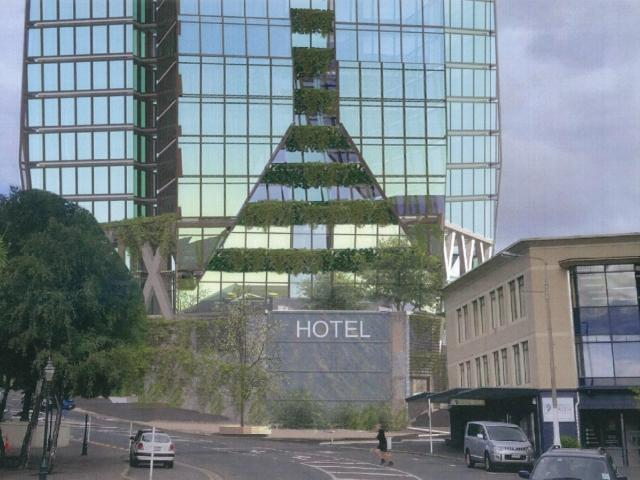 Anticipated view of a hotel proposed for Moray Pl, in Dunedin. Image: Paterson Pitts Group.