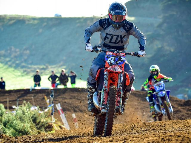 Showing his speed in defending his national title at the New Zealand Junior Motocross...
