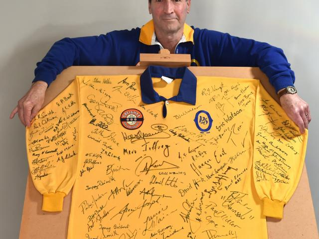 Charlie Voight with his large Otago jersey. Photo: Peter McIntosh.