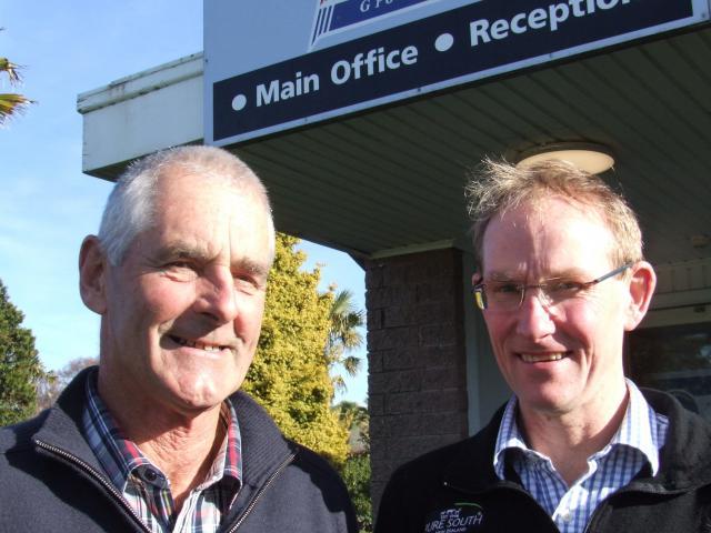 Retiring Alliance Group Pukeuri foreman butcher Chris McLeod (left) and plant manager Ivan...