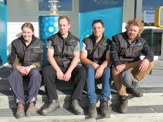 The four competitors in the 2017 Central Otago Young Fruit Grower competition take a moment after...